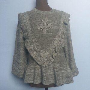 Neiman Marcus Ruffle Peplum Sweater